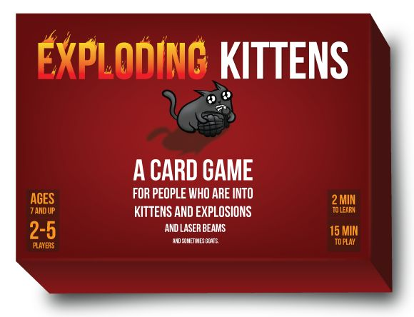 This is the card game that made Kickstarter history Created by Elan Lee (Xbox, ARGs), Matthew Inman (The Oatmeal), and Shane Small (Xbox, Marvel), Exploding Kittens made history when it became the most-backed game in Kickstarter history and the campaign with the most number of backers, ever.  It is a highly-strategic, kitty-powered version of Russian Roulette. Players draw cards until someo