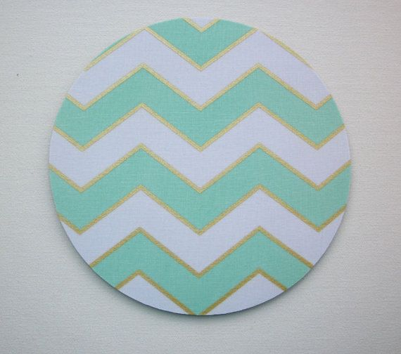 mouse pad mousepad mat round shiny gold mint chevron by laa766 chic cute chic mint teal office
