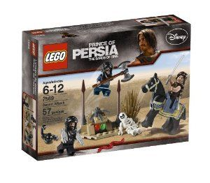 LEGO Prince of Persia Desert Attack Set (7569) by LEGO. $14.99. Set includes 4 minifigures:  Dastan, Bladed Whip Hassansin, Porcupine Hassansin, and Double-bladed Hassansin. Weapon rack holding double- bladed axe also included. Includes swords, snakes, serpents and axes. Features a dungeon full of weapons and treasures. Contains 80 pieces. From the Manufacturer                Hidden in their secret lair, the evil Hassansins are busy planning their next assault on the city ...