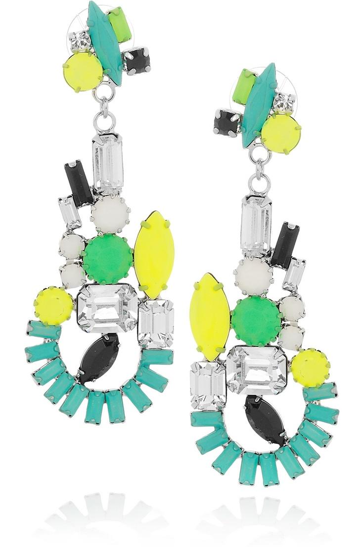 TOM BINNS  Ethno Teknik hand-painted Swarovski crystal earrings  $340