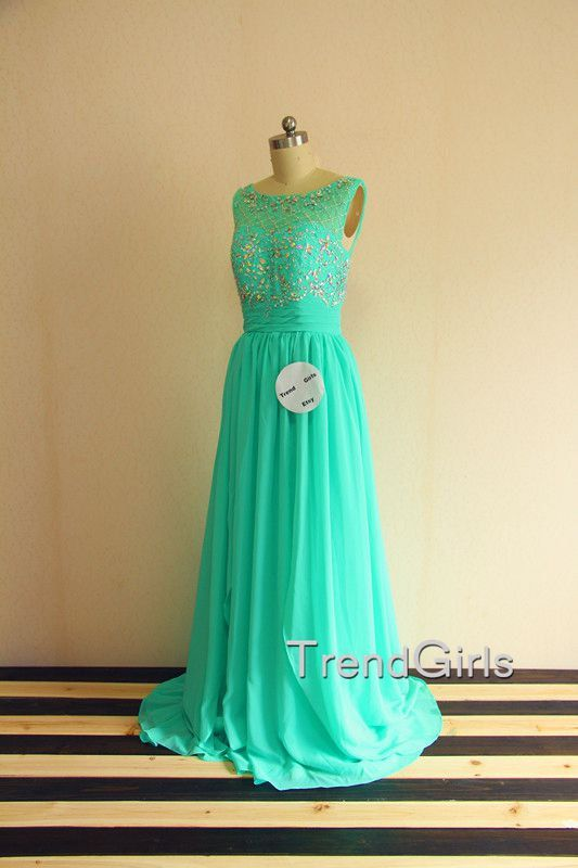 Green Chiffon Round Neckline Backless Prom Dresses by TrendGirls
