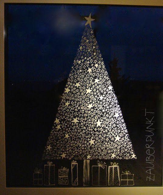 Ein adäquater Ersatz für den Weihnachtsbaum ist dieser aus lauter Sternen ans Fenster gemalte von Nicole allemal!