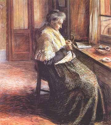 Umberto Boccioni (1882-1916) la madre che lavora a maglia. Movimiento futurista http://historiayarteamimanera.blogspot.com.es/2016/10/umberto-boccioni-1882-1916-italia.html