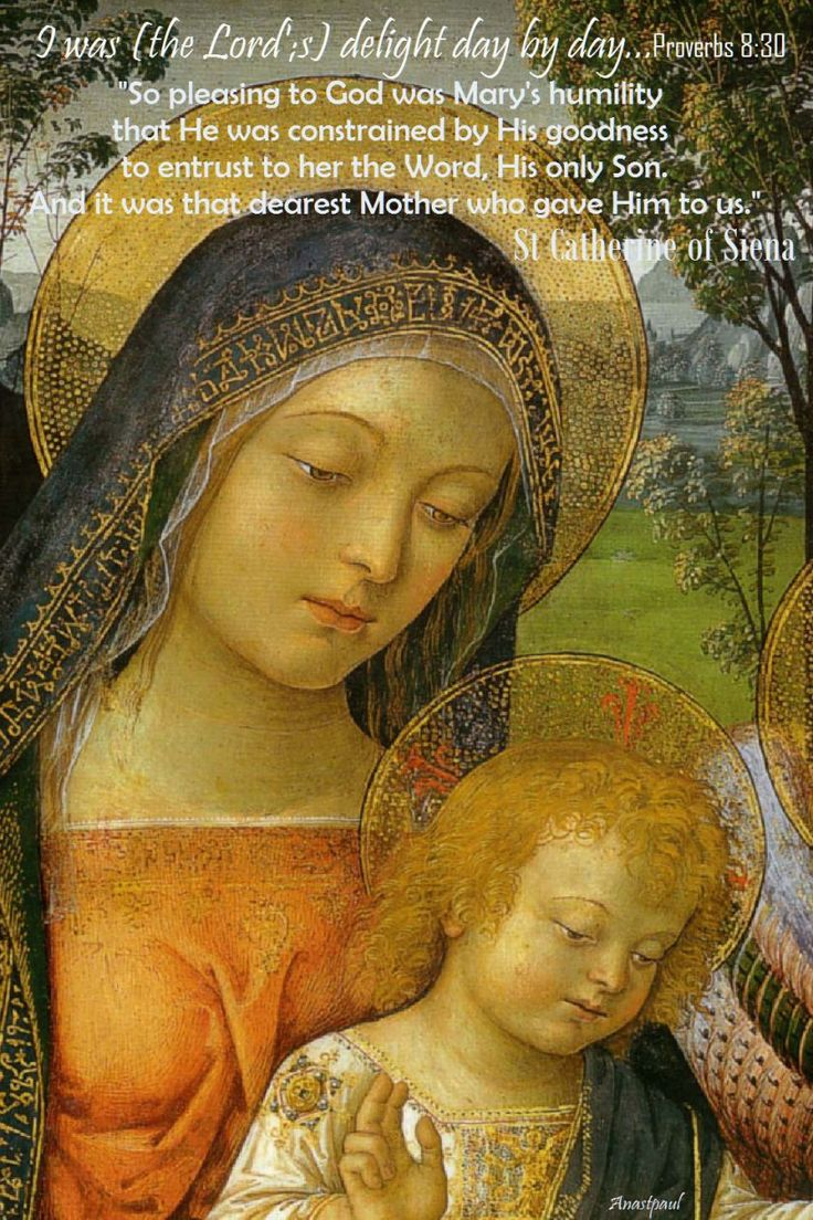 "One Minute Reflection – 16 July    I was (the Lord's) delight day by day………….Proverbs 8:30    REFLECTION – ""So pleasing to God was Mary's humility that He was constrained by His goodness to entrust to her the Word, His only Son.  And it was that dearest Mother who gave Him to us.""……………St Catherine of Siena...#mypic"