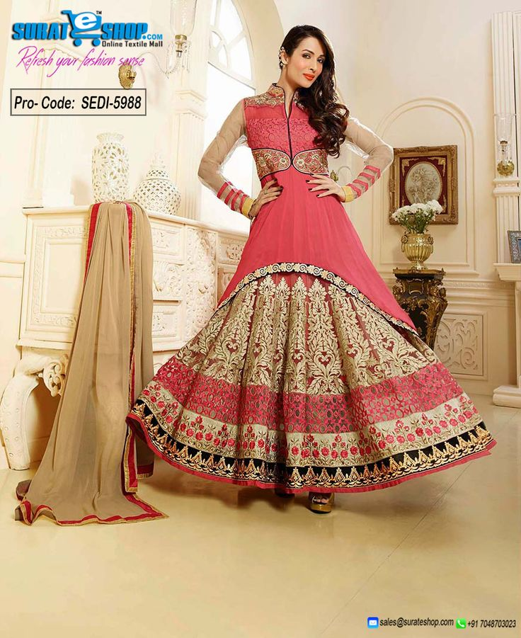 Add Grace And Charm On Your Appearance In This Interesting Salmon Faux Georgette, Net Salwar Kameez. You'll See Some Intriguing Patterns Carried Out With Butta Work, Lace, Resham Work. Paired With A Matching Bottom Comes With A Contrast Beige Chiffon Dupatta  Visit: http://surateshop.com/product-details.php?cid=2_27_43&pid=8297&mid=0