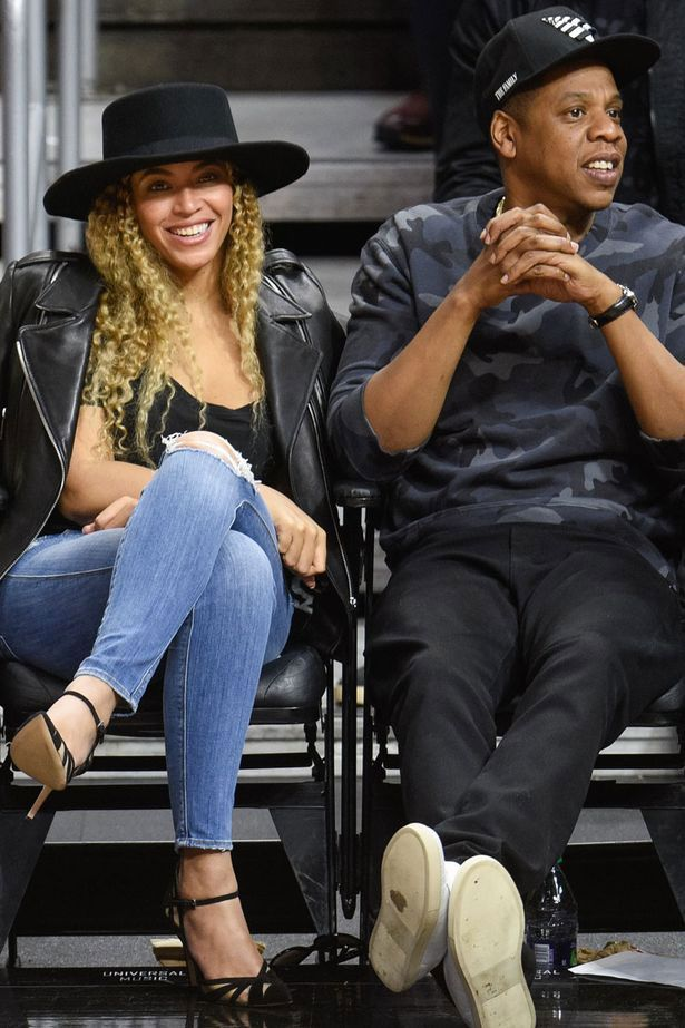 Splurge: Beyonce's Clippers vs. Thunder Game Saint Laurent Classic Leather Jacket, Genetic Denim Shya Cigarette Distressed Jeans, and Gianvito Rossi Suede & Mesh Ankle Strap Pumps   The Fashion Bomb Blog   Bloglovin'