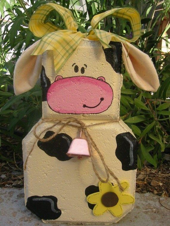 Yard Art, Garden Decor, Garden Decoration, Outdoor Decor, Moo Cow Patio Person Weather Resistant Painted Concrete Paver