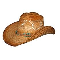 Dorfman Pacifc Vented Raffia Western Hat w/ Beaded Trim   $23.96   20% off