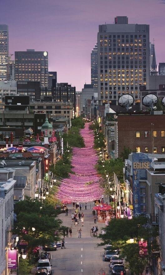 Beautiful Montreal, Quebec as night falls