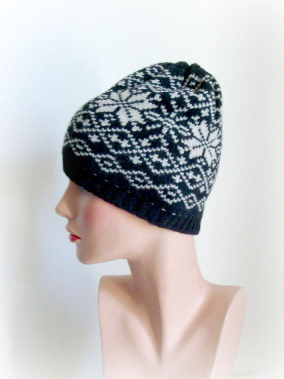 Hand Knit Hat  Black Ivory Nordic pattern  Hand by InkaBoutique, $35.00