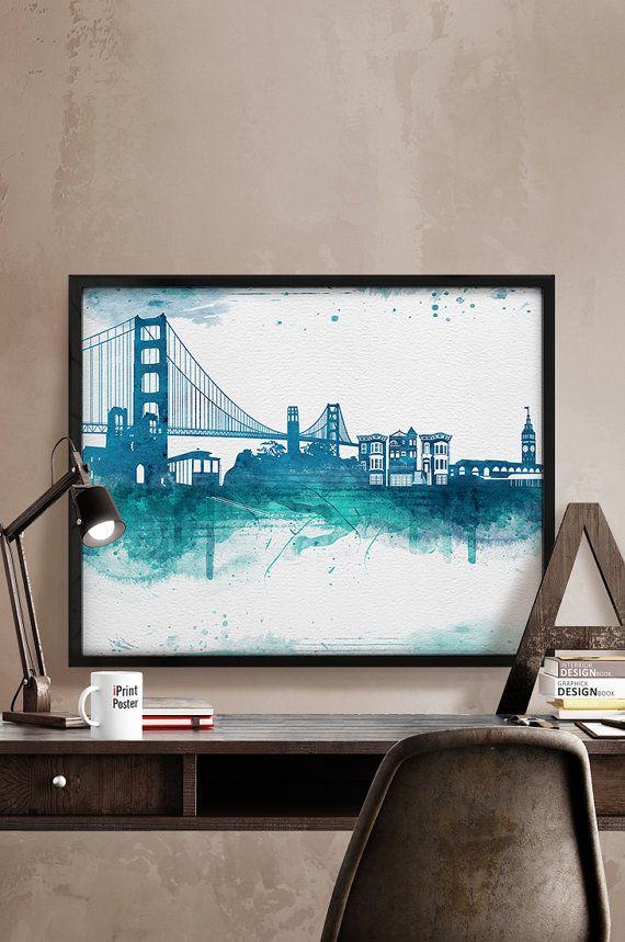 San Francisco Watercolor, San Francisco watercolor poster, Art, San Francisco skyline, Wall art, art print, Home Decor, wall decor cityscape