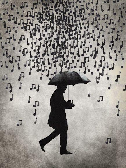 Umbrella music rain men save from music rain