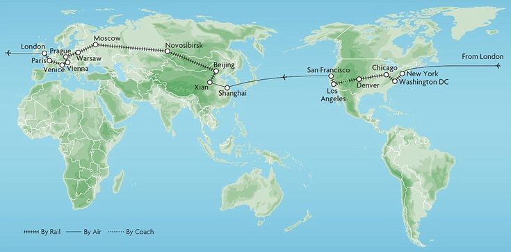 The route: Travel from London across the USA, China, Russia and back through Europe before returning to the UK¿s capital on the Great Rail Journeys new Around The World In 53 Days Tour