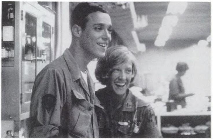 1969, 67th Evac Hospital, Qui Nhon, South Vietnam. Army Nurse, 1st Lt Pamela Years, USA,NC and Corpsman, Sp.5 Max Slifer. 91C.