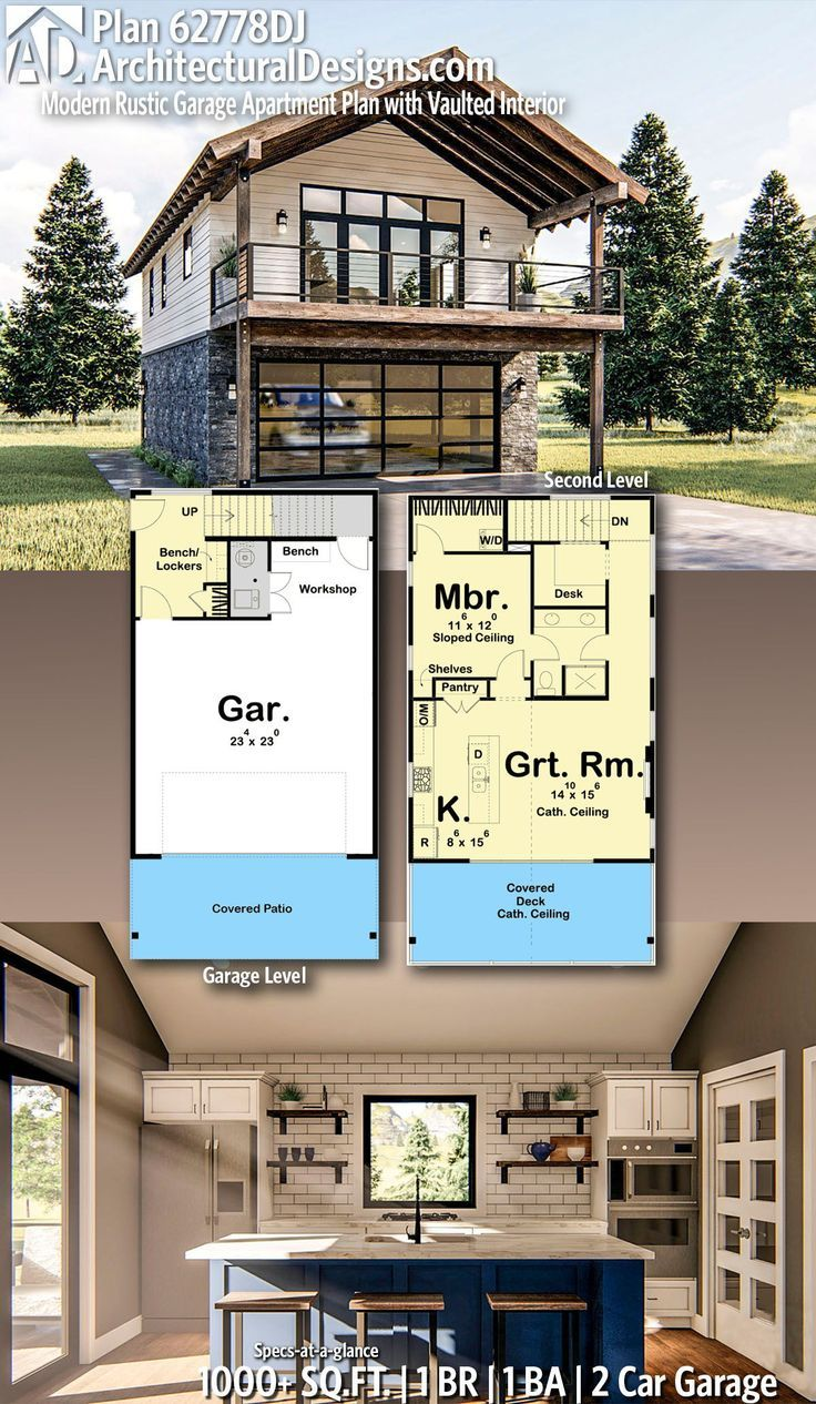 Plan 62778dj Modern Rustic Garage Apartment Plan With Vaulted Interior Carriage House Plans Garage Apartment Plan Apartment Plans