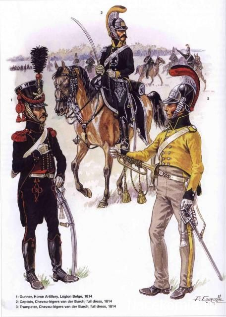 Belgian Troops-Gunner Horse Artillery and Officer and Trumpeter Chevau Legers