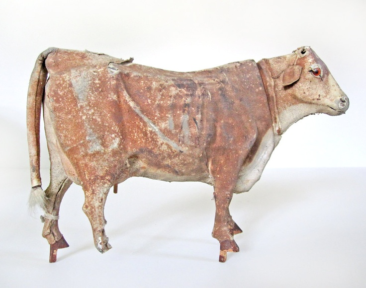 Antique 19th-century German leather cow toy -- a beautiful piece of folk art!