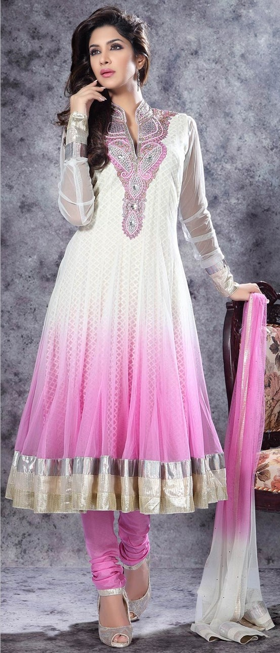 Off #White and #Pink Net #Readymade #Churidar #Suit @ $129.20