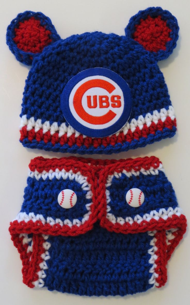 CUBS Baseball Crochet Hat, Diaper Cover, Newborn to 12 months, photo prop hat, baby's 1st hat, MLB Chicago Cubs hat, cubs baseball patch by kimcrochetcreations on Etsy