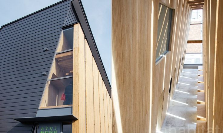 The Miyamura Veterinary Clinic is a combination traditional post-and-beam wooden structure and LVL (Laminated Veneer Lumber) that resists fire for an hour.