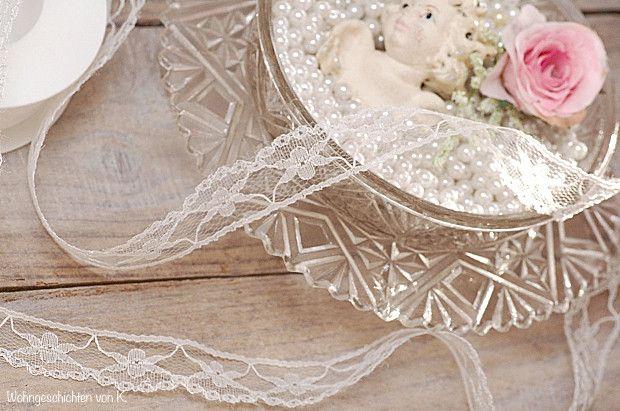 Hochzeitsdeko - Spitzenband weiß 15m x 2,2cm Spitze - ein Designerstück von Wohngeschichten-von-K- bei DaWanda