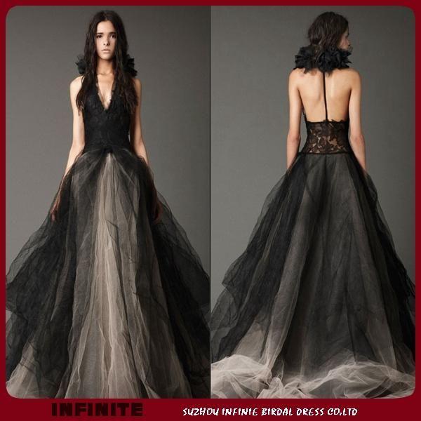 Black and white gothic wedding dresses sexy backless v for Black wedding dresses online