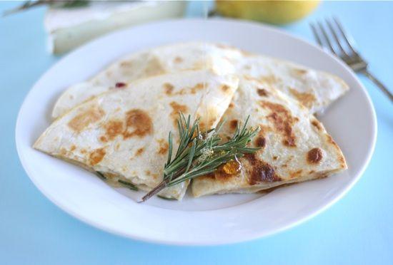 Pear, Brie, and Honey Quesadilla Recipe on twopeasandtheirpod.com Love this simple and elegant quesadilla!
