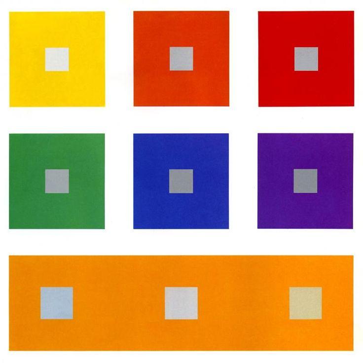 Simultaancontrast: Simultaancontrast is het verschijnsel dat een kleur een invloed heeft op een direct aangrenzende kleur. De grijze blokjes zijn hier allemaal exact de zelfde tint grijs. Maar het kijkt alsof elk grijs blokje een andere tint is, dit komt omdat de achtergrond kleur verschillend is en dus invloed heeft op hoe jij die grijs tint ziet.