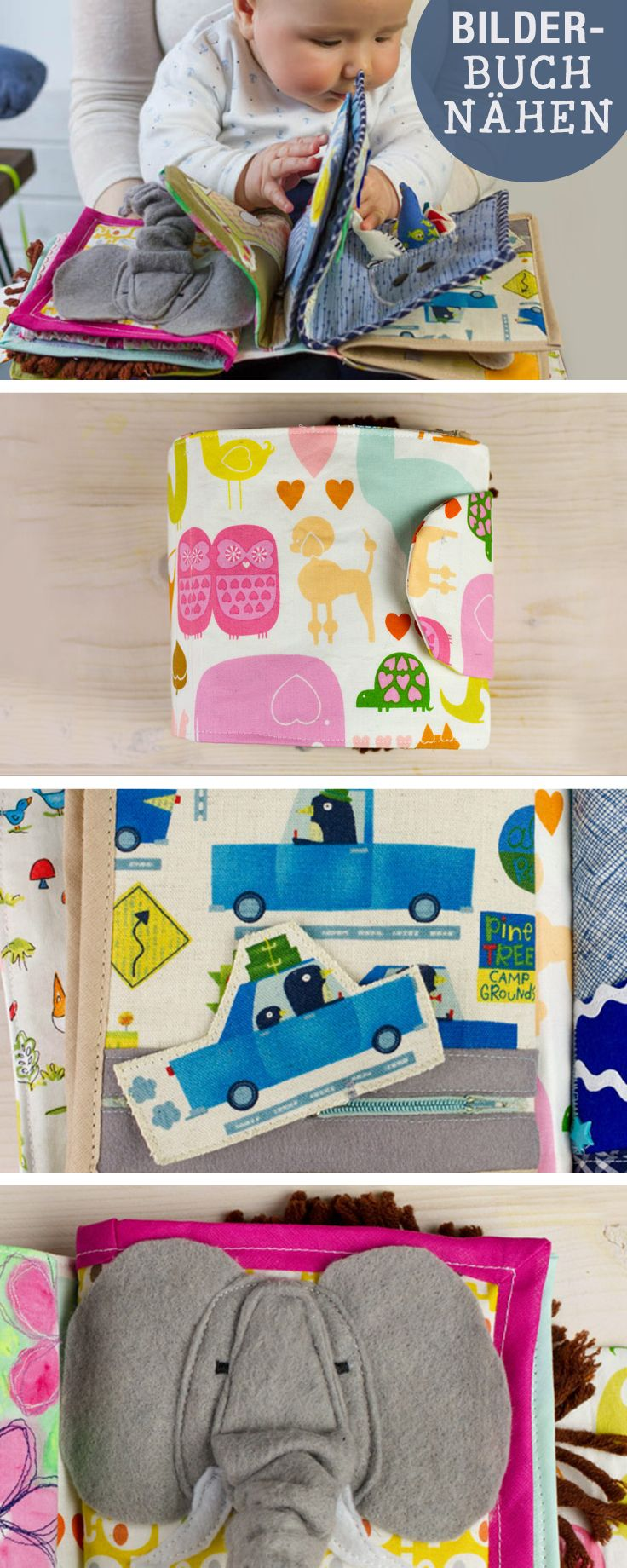 Nähanleitung für Babyspielzeug: Bilderbuch nähen / diy sewing tutorial: sew a colorful storybook for babys, learning, parenting via DaWanda.com