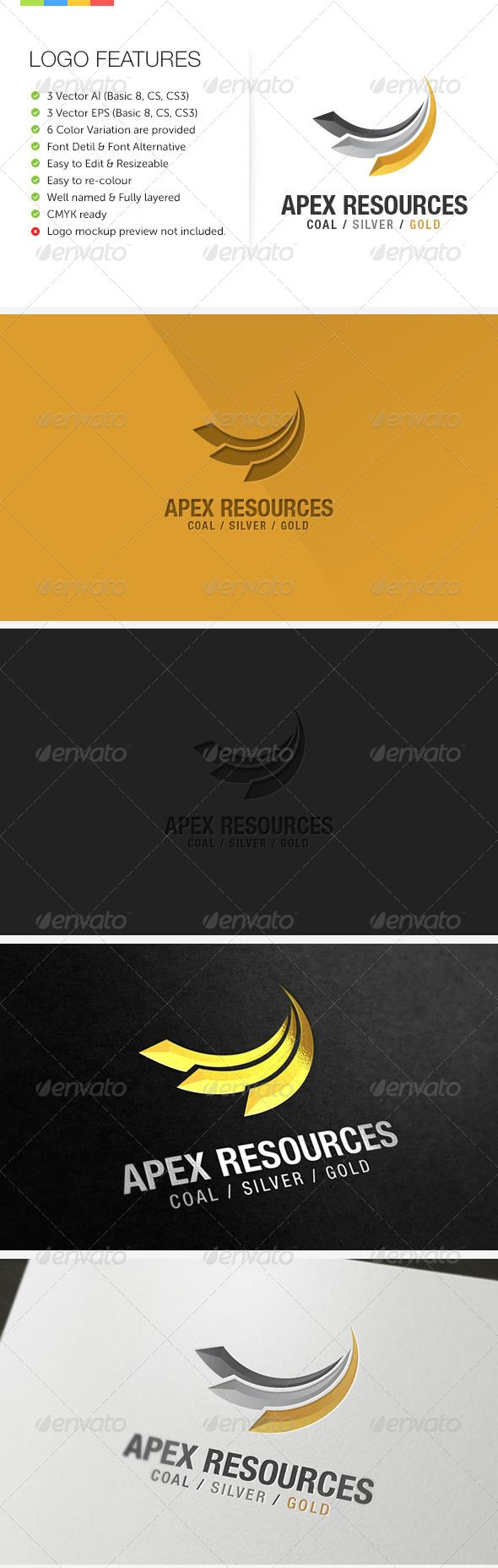 Apex Mining Exploration  #GraphicRiver         An excellent logo for Mining, Exploration, Resources or maybe Business consulting company, using abstract shape of 3 swoosh that can be represent in many ways.
