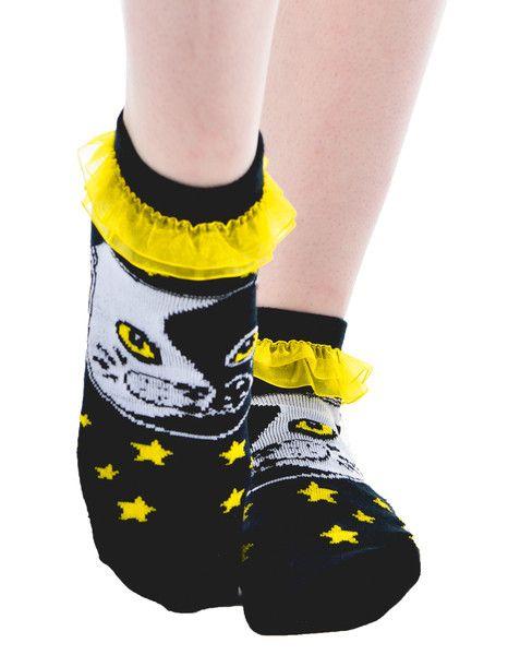 Yin Yang Cat Ruffled Ankle Socks