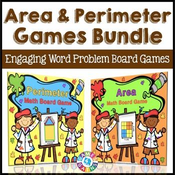 Area and Perimeter: Area and Perimeter Games Bundle contains two board games and 72 word problem game cards to help your students practice finding the perimeter and area of plane figures.Get this Area and Perimeter Games Bundle and SAVE 10%!These area and perimeter board games work great as pair/group activities, in math centers, or as informal assessment tools!Here's what you'll receive with this Area and Perimeter Games Bundle:Area Board GameThis Area Board Game 36 WORD PROBLEM area game…