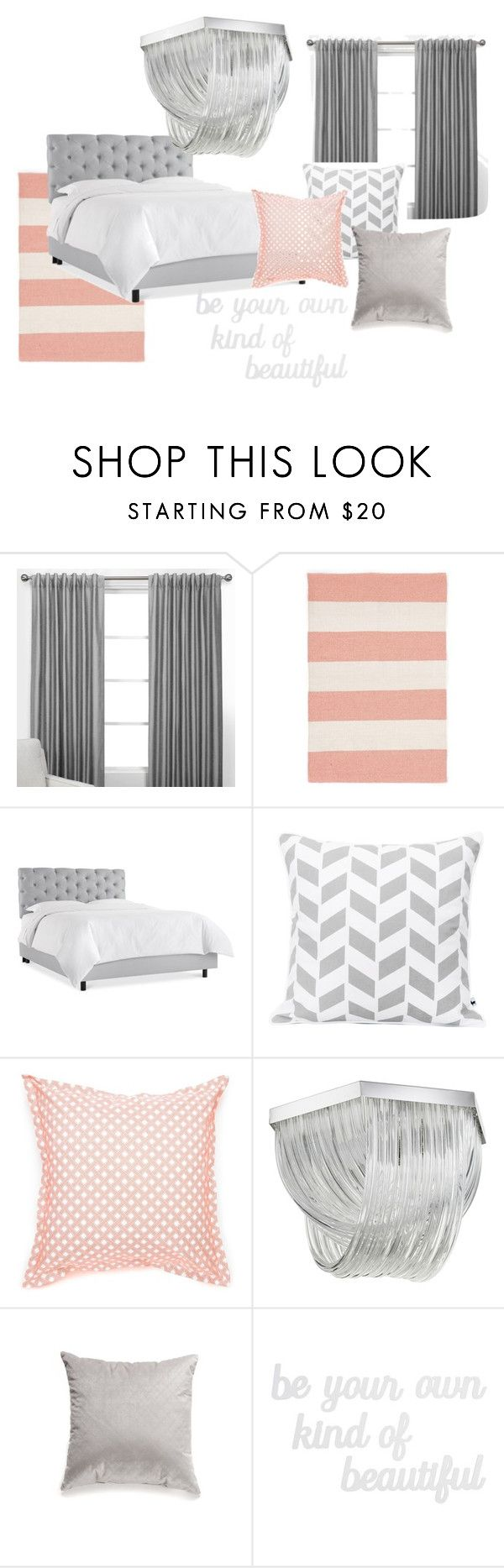 """Grey peach bedroom"" by niratheone on Polyvore featuring interior, interiors, interior design, home, home decor, interior decorating, Dash & Albert, Jonathan Adler, Home Fashions International and PBteen"