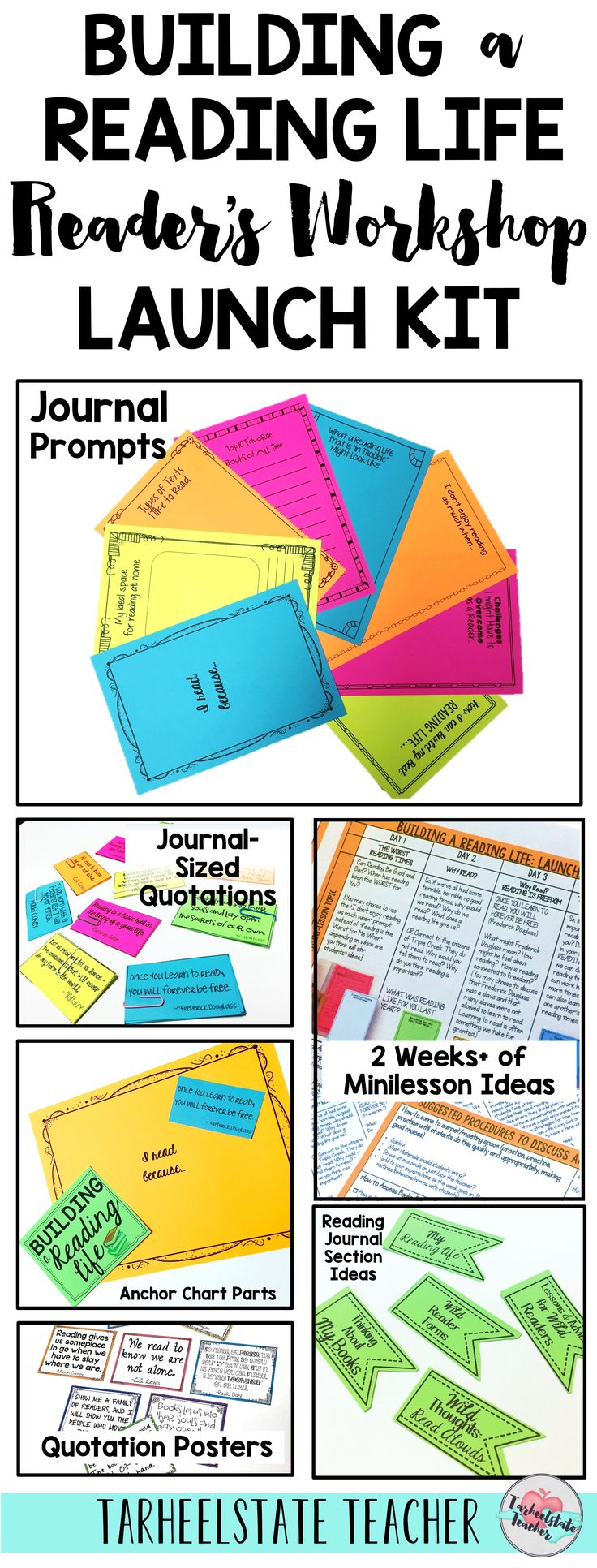 "Instill a love of reading from the beginning of the year as you launch readers workshop with these readers' notebook journal prompts, quotation posters, anchor chart parts, and mini lesson ideas for a workshop unit inspired by Lucy Calkins' concept of ""Building a Reading Life."" Student journal/reading prompts, anchor chart parts, reading quotations and posters, and minilesson ideas for your first two weeks of school. Check out this reader's workshop kit that is perfect for 3rd, 4th, 5th…"
