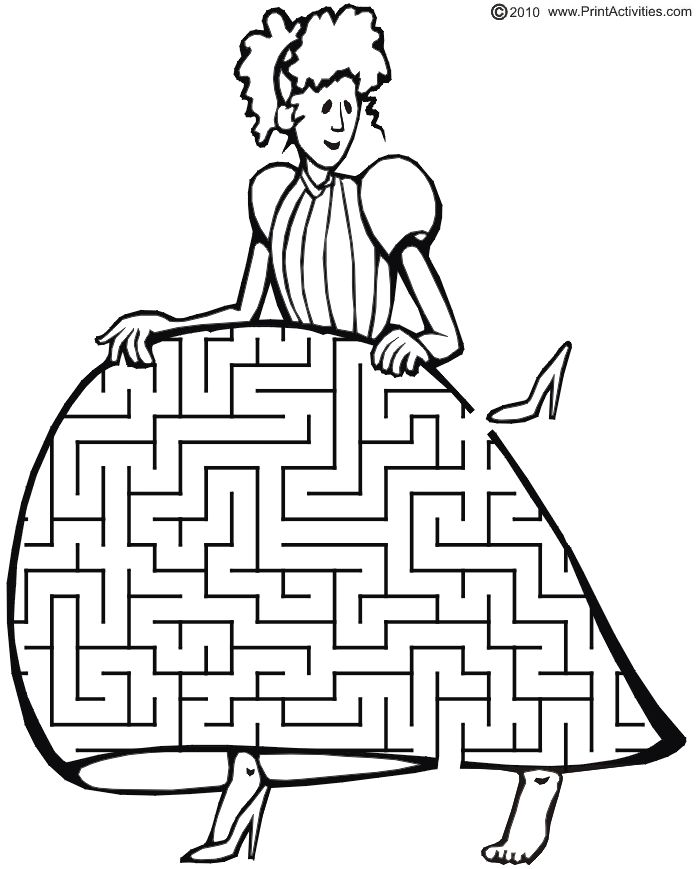 Printable Cinderella Maze: Guide the slipper back to her foot.
