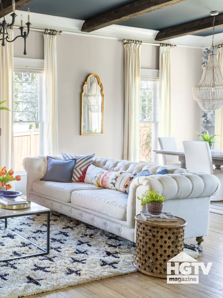 A bohemian living room featured in HGTV Magazine