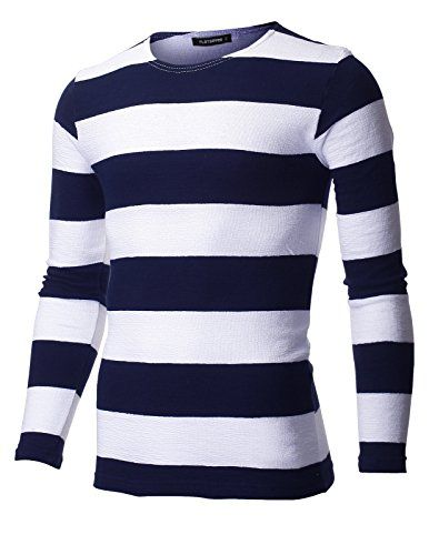 FLATSEVEN Mens Slim Fit Crew Neck Bar Stripe Tee Shirt wi... https://www.amazon.com/dp/B01E74H4DU/ref=cm_sw_r_pi_dp_x_iDnaybNQGH3TQ