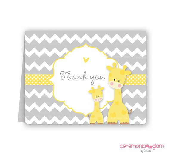 Baby shower thank you cards chevron giraffe by ceremoniaGlam, $4.50