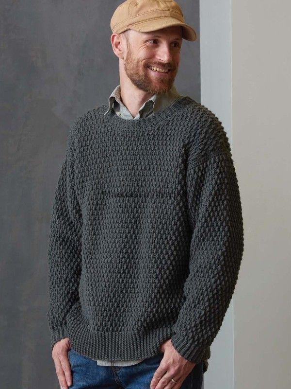 Мужской гранитный пуловер вязаный крючком