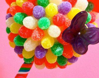 Arco iris mariposa Candy Land pieza central Topiary, Candy Buffet decoración, Candy arreglo boda, Mitzvah, dulces de creación, arte comestible