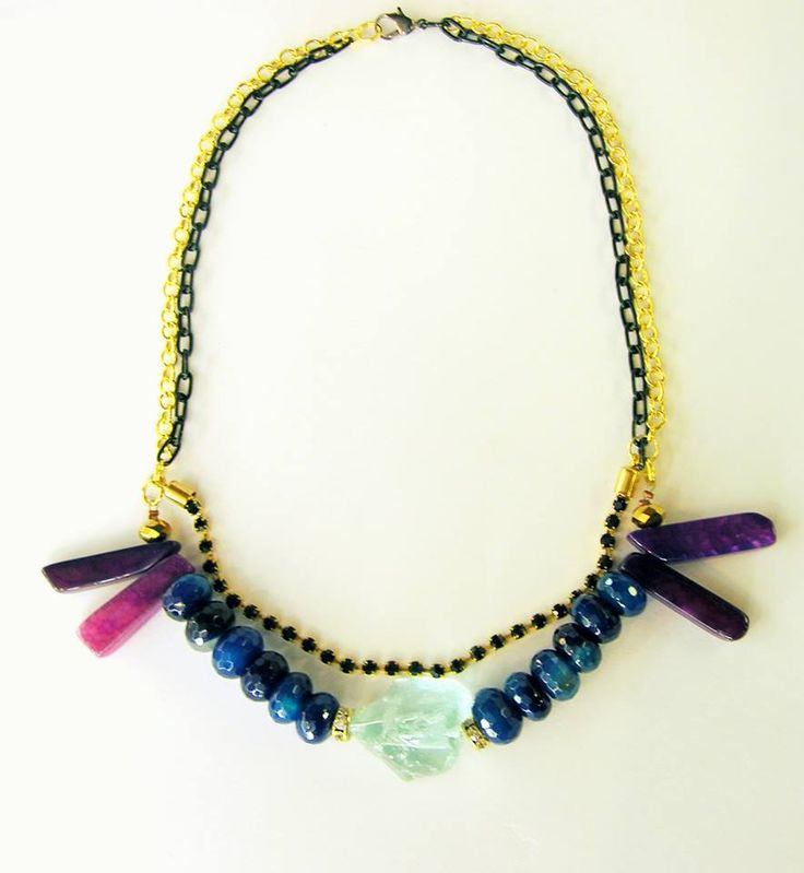 necklace, black and gold colour chains, crystals, agates, raw aquamarine