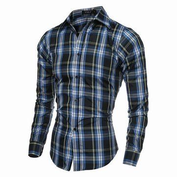 Designer Spring Autumn Mens Casual Checks Pattern Long Sleeved Dress Shirts - NewChic