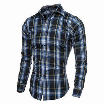 Designer Spring Autumn Mens Casual Checks Pattern Long Sleeved Dress Shirts - NewChic