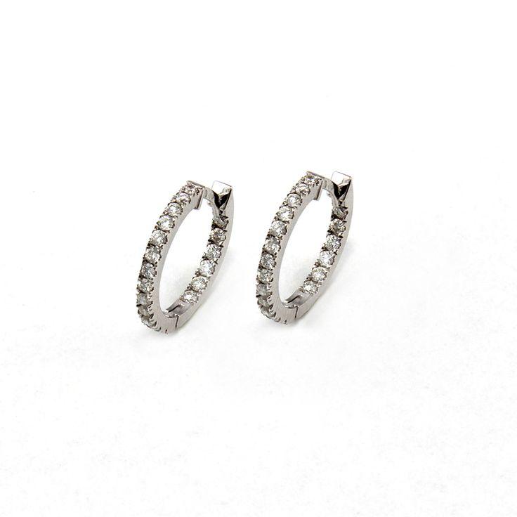 18ct(750) White Gold Earring with 0.55ct W-VS diamonds.By Golden Eye Jewellery Alanya Turkey