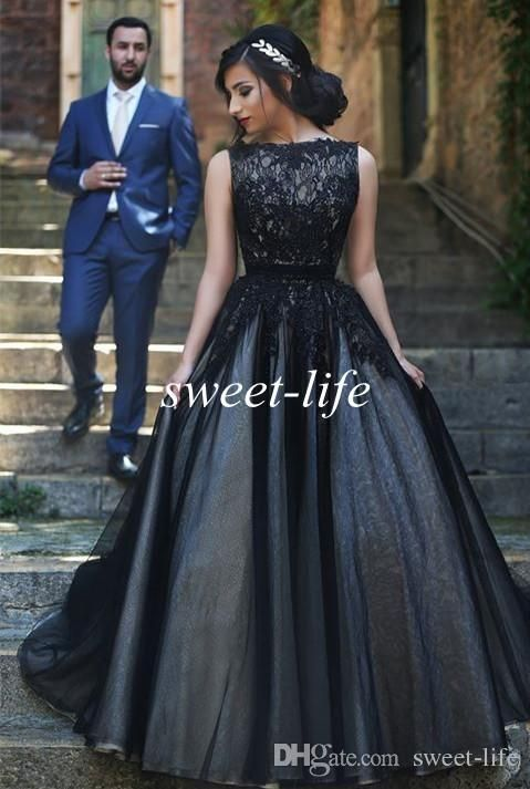 Arabic Prom Dresses 2015 Black Lace Tulle Cheap Ball Gown Jewel Sleeveless Vintage Custom Made Plus Size Women Evening Dresses Formal Gowns Online with $114.46/Piece on Sweet-life's Store | DHgate.com