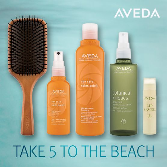Here's what's in our Aveda beach bag.  What's in  yours?