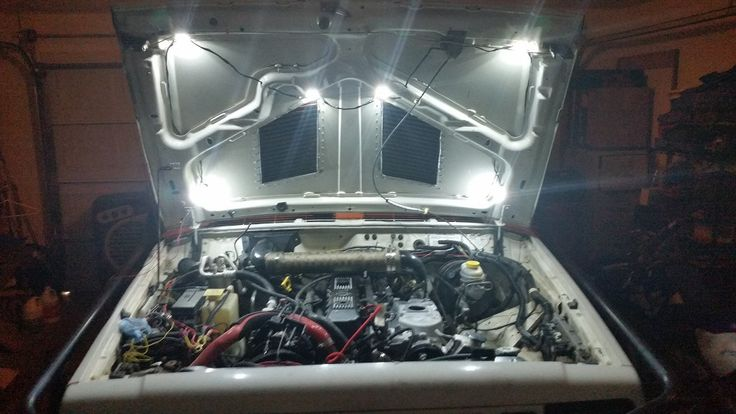My Jeeps under the hood lights.   I also have 40 of these white pod lights under the body as rock lights... Boyce Stovall
