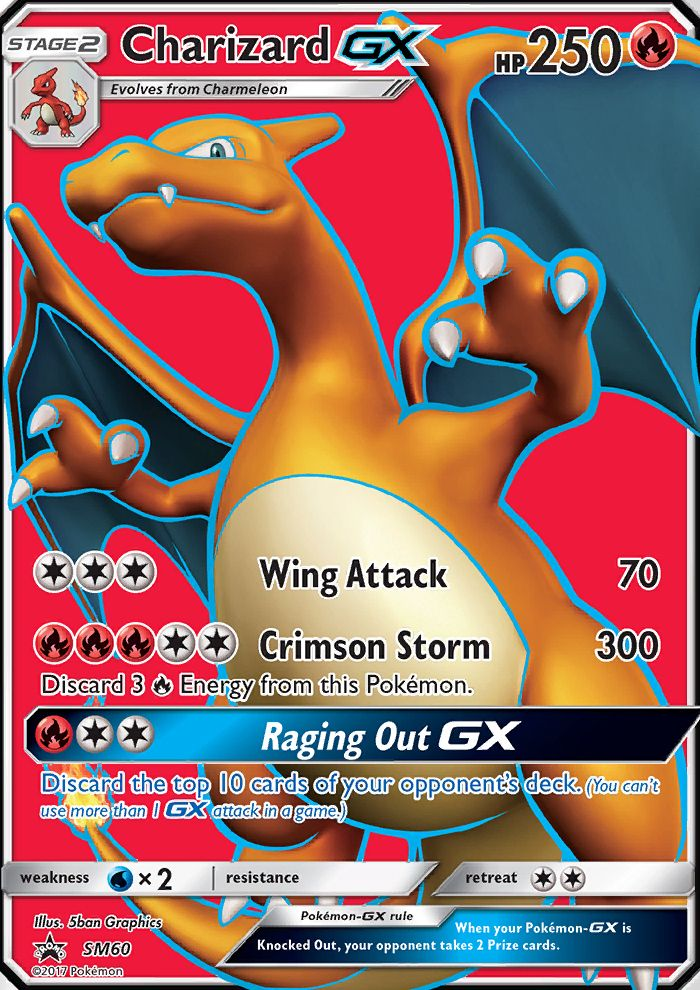 [C][C][C] Wing Attack: 70 damage. [R][R][R][C][C] Crimson Storm: 300 damage. Discard 3 [R] Energy from this Pokemon. [R][C][C] Raging Out GX: Discard the top 10 cards of your opponent's deck. (You can't use more than 1 GX attack in a game.)