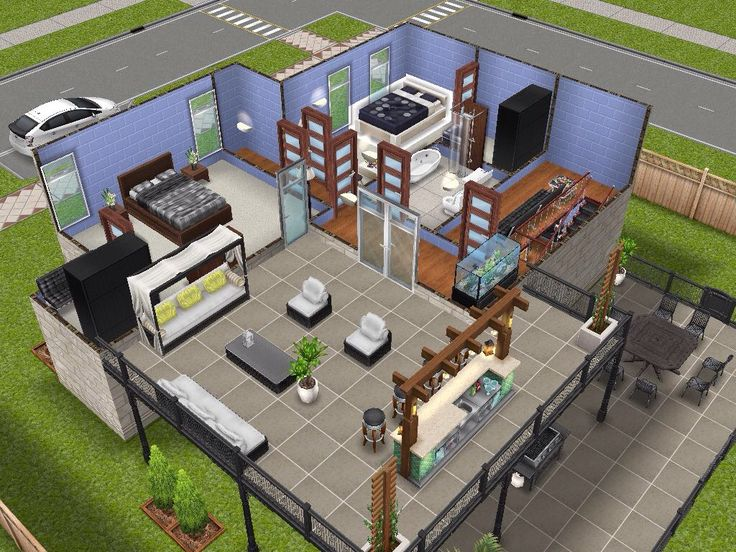 House 6 level 2 sims simsfreeplay simshousedesign my for Minimalist house sims 2