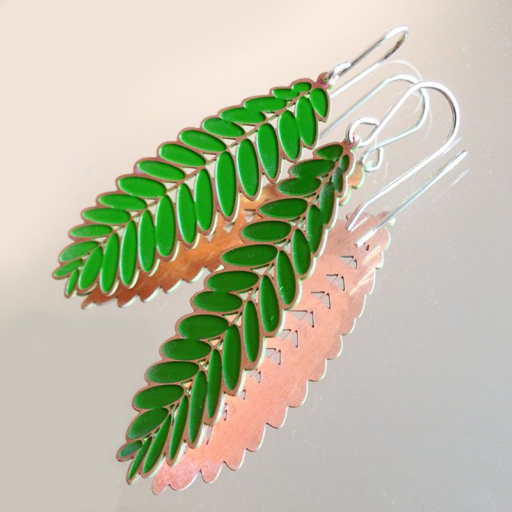 Green Leaf Acacia/Senna Earrings Copper & Sterling Silver By Jessica Jubb